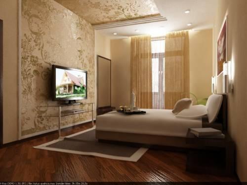 Дизайн спальни прямоугольной фото