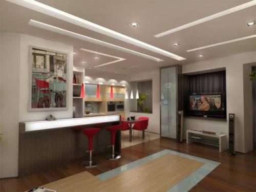 Дизайн гостиной столовой кухни
